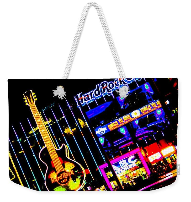 City Weekender Tote Bag featuring the photograph Hard Rock Vegas by Rebekah Wilson