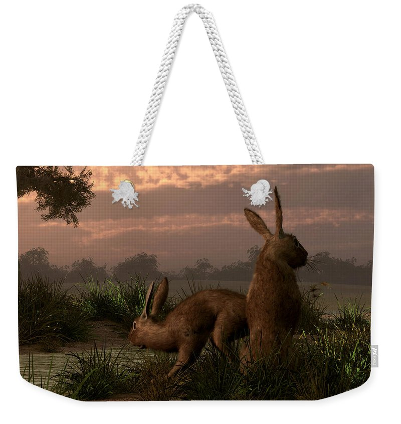 Rabbit Weekender Tote Bag featuring the digital art Hares In The Wetlands by Daniel Eskridge