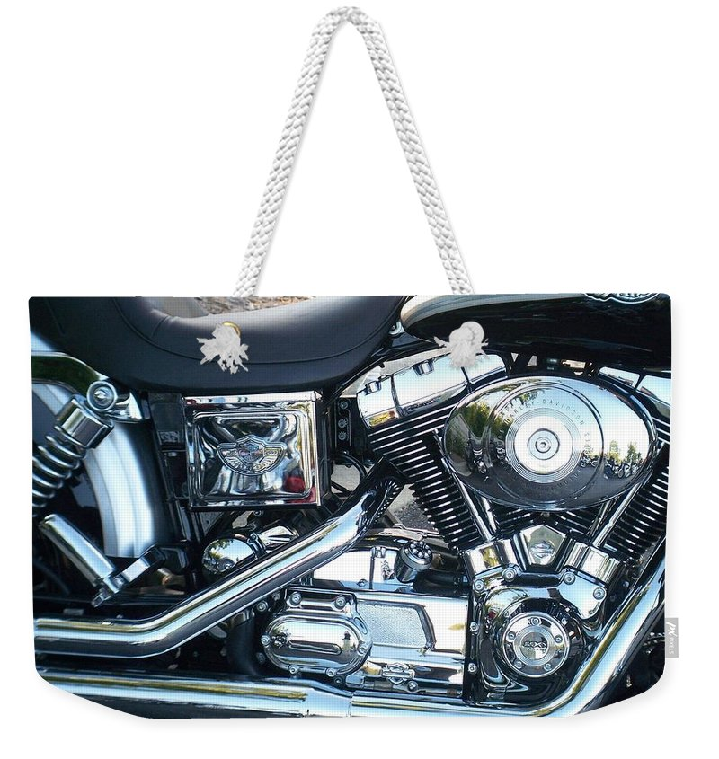 Motorcycles Weekender Tote Bag featuring the photograph Harley Black And Silver Sideview by Anita Burgermeister