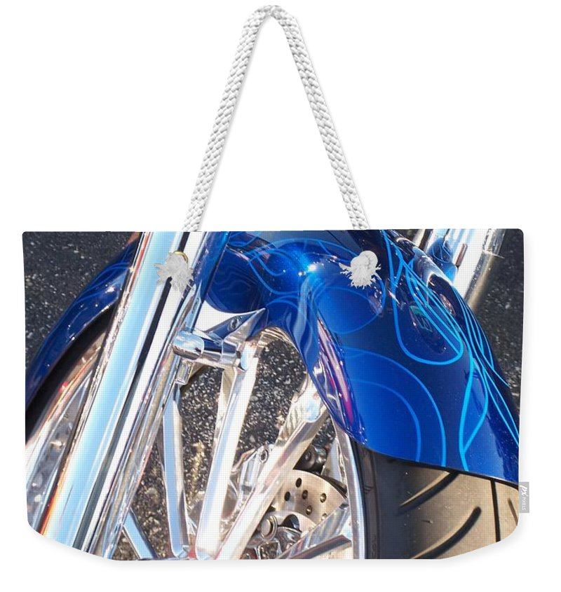 Motorcycles Weekender Tote Bag featuring the photograph Harley Close-up Blue Flame by Anita Burgermeister