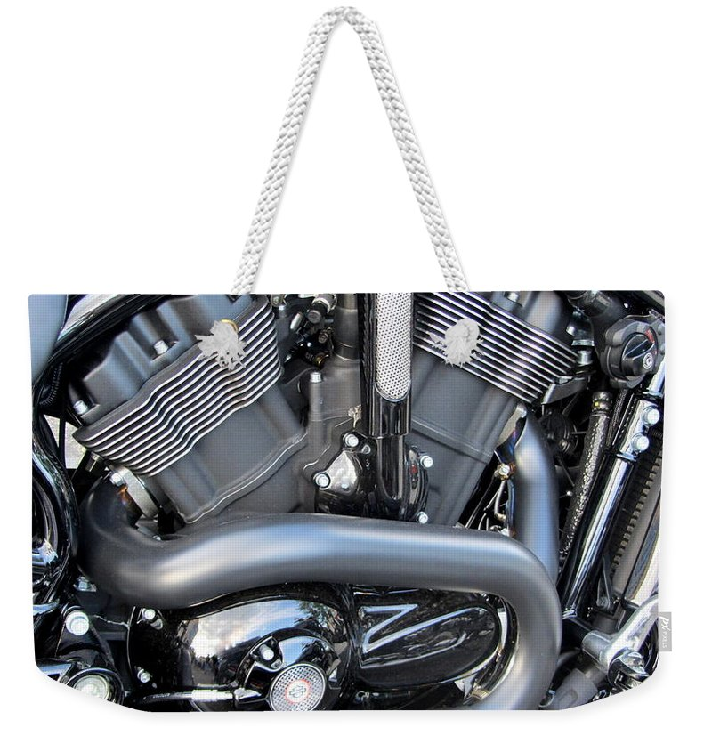 Motorcycles Weekender Tote Bag featuring the photograph Harley Close-up Engine Close-up 1 by Anita Burgermeister