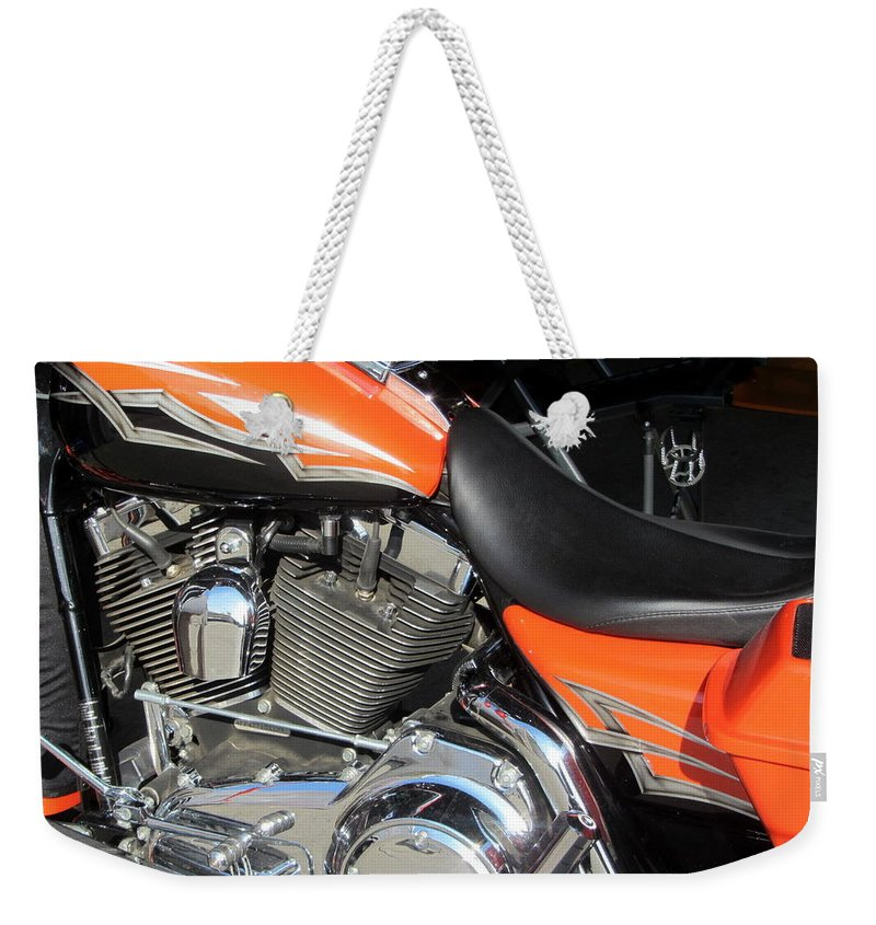 Motorcycles Weekender Tote Bag featuring the photograph Harley Close-up Orange 1 by Anita Burgermeister