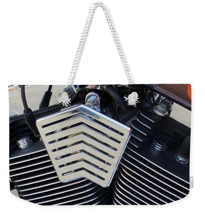 Motorcycles Weekender Tote Bag featuring the photograph Harley Close-up Orange Flame by Anita Burgermeister