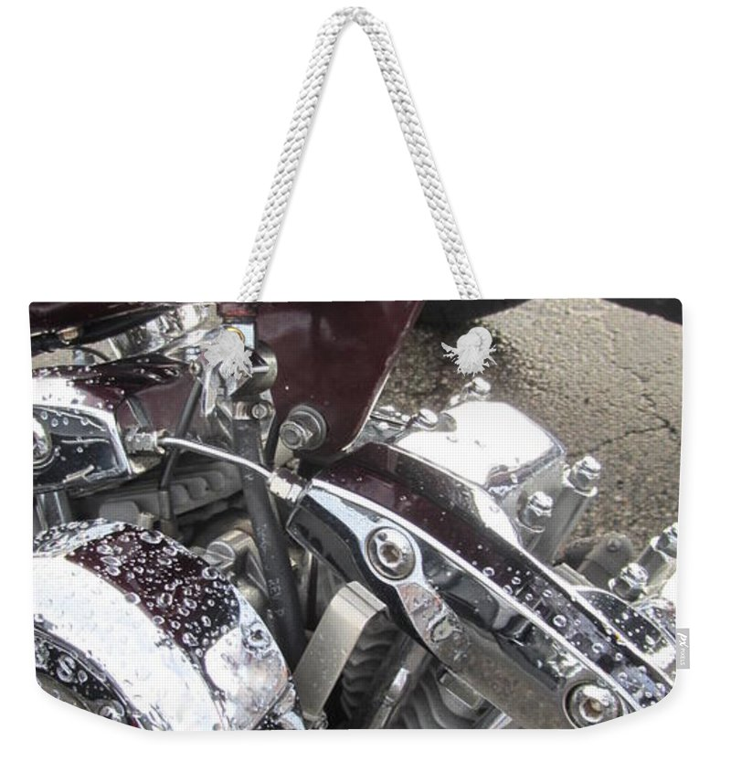 Motorcycles Weekender Tote Bag featuring the photograph Harley Close-up Possessed by Anita Burgermeister