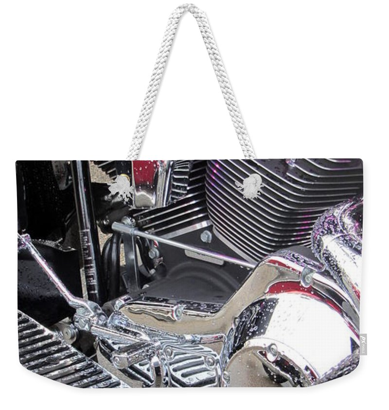 Motorcycles Weekender Tote Bag featuring the photograph Harley Close-up Purple Lights by Anita Burgermeister