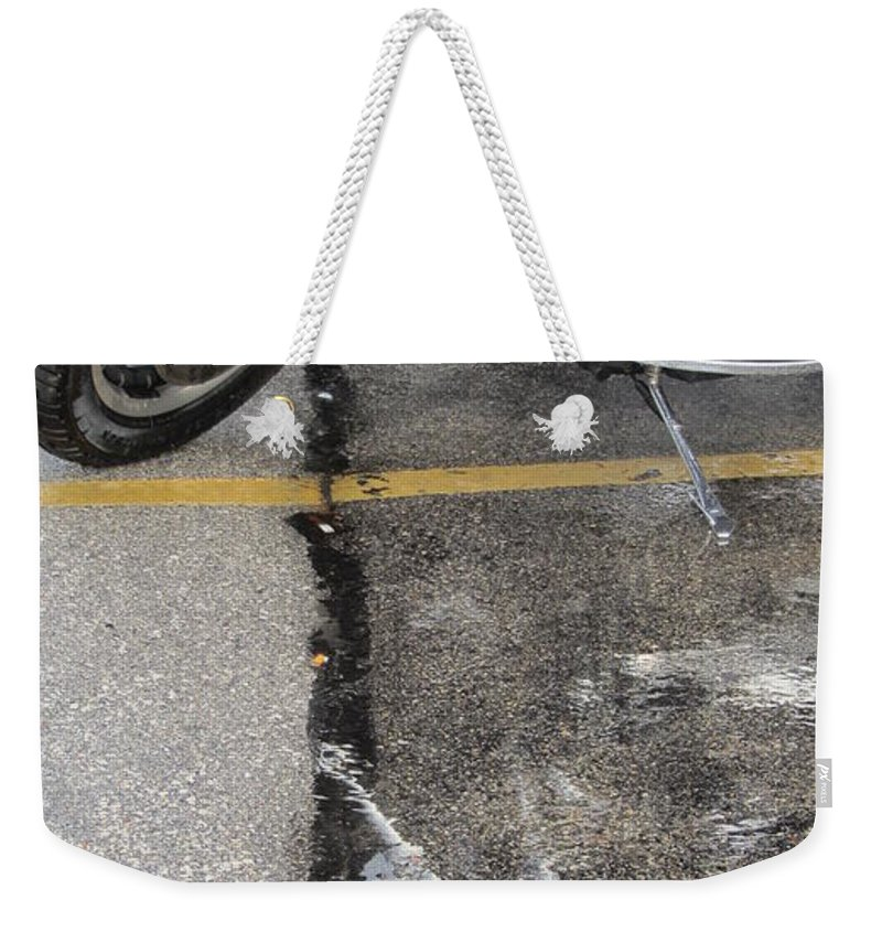 Motorcycles Weekender Tote Bag featuring the photograph Harley Close-up Rain Reflections Tall by Anita Burgermeister