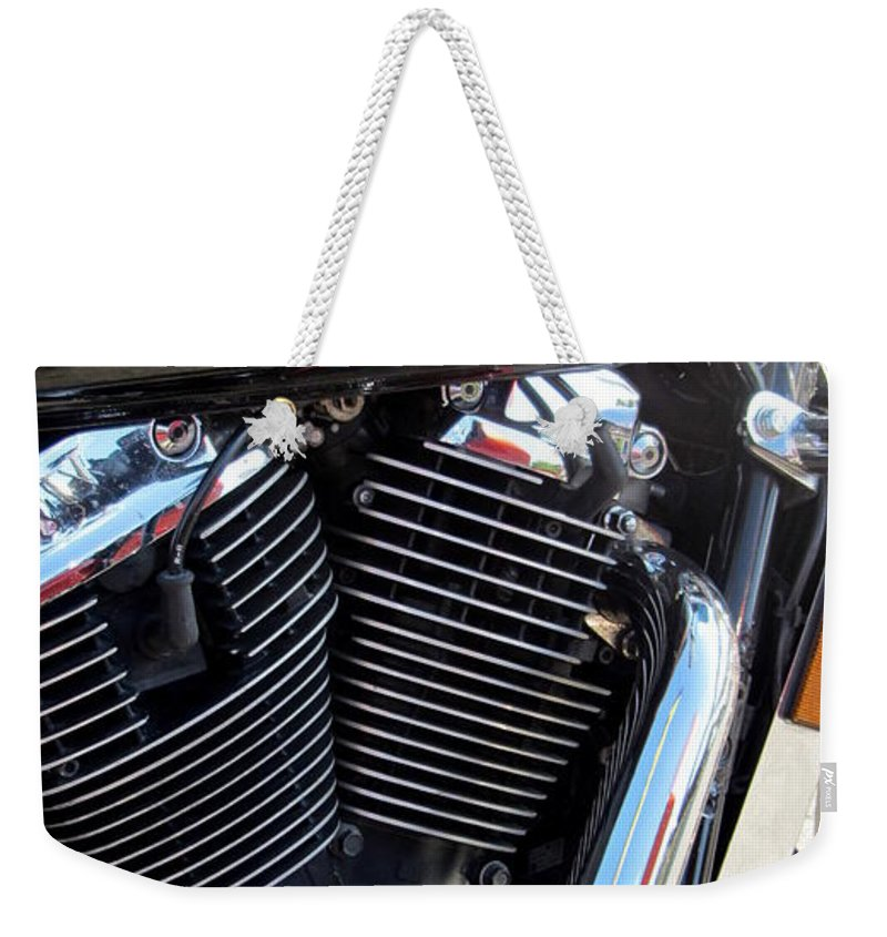 Motorcycles Weekender Tote Bag featuring the photograph Harley Close-up Red Flame 1 by Anita Burgermeister