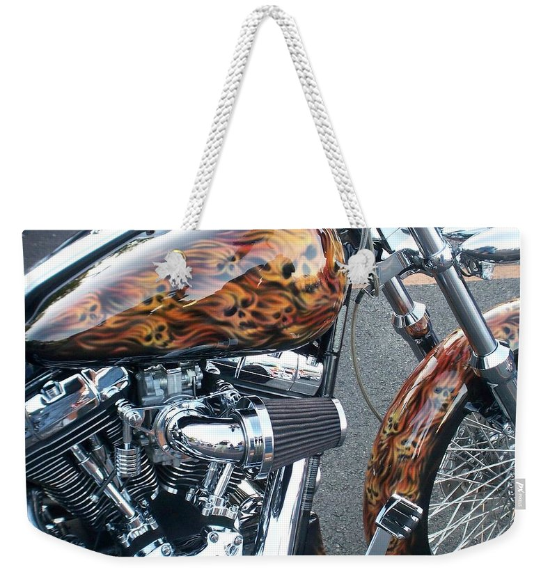 Motorcycles Weekender Tote Bag featuring the photograph Harley Close-up Skull Flame by Anita Burgermeister