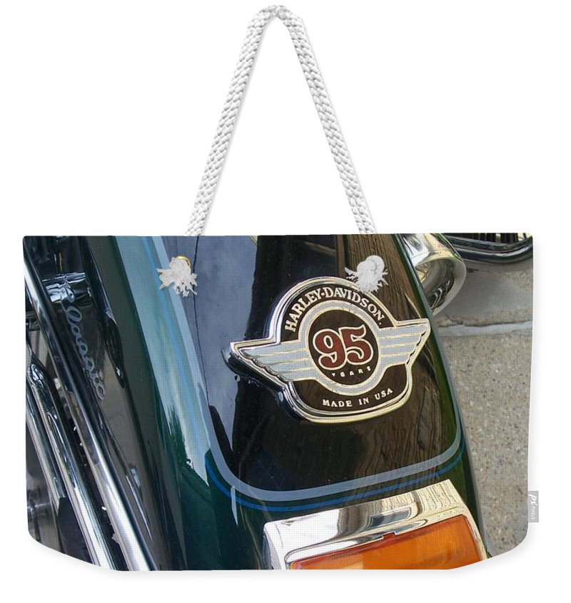 Motorcycles Weekender Tote Bag featuring the photograph Harley Close-up Tail Light by Anita Burgermeister