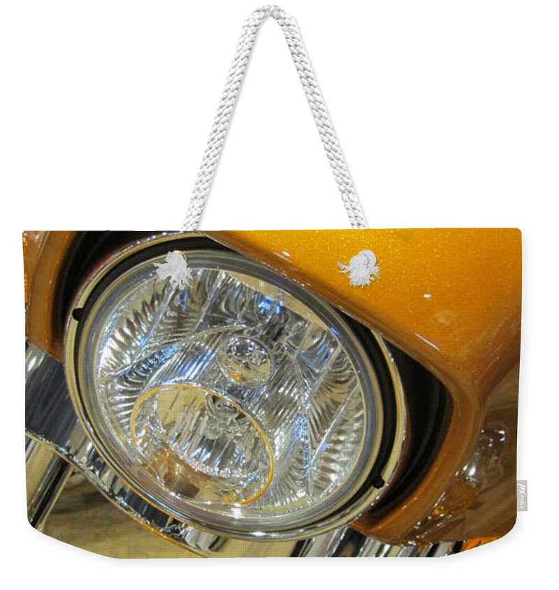 Motorcycles Weekender Tote Bag featuring the photograph Harley Close-up Yellow 2 by Anita Burgermeister