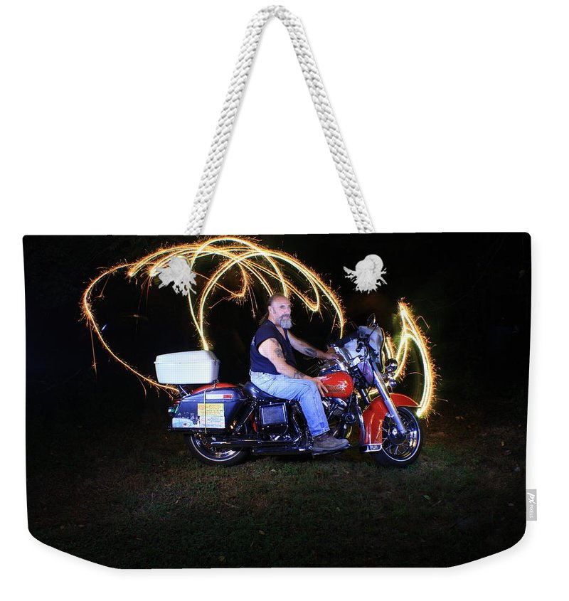 Jdavidson Weekender Tote Bag featuring the photograph Harley Davidson Light Painting by Gary Keesler
