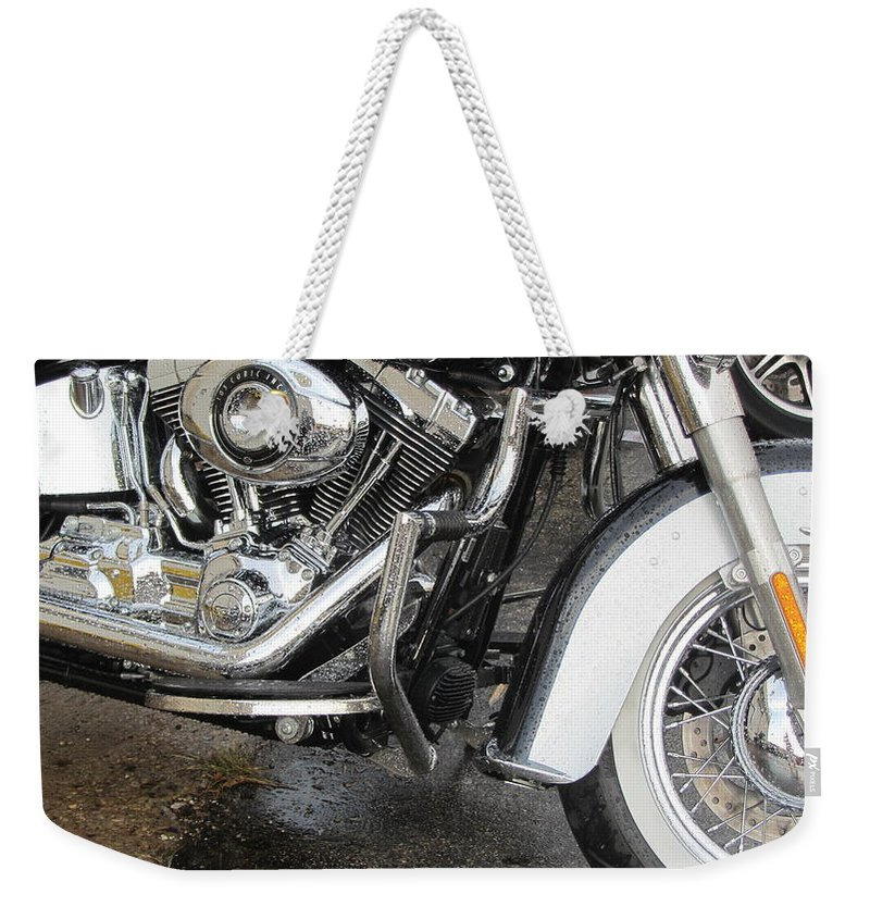Motorcycles Weekender Tote Bag featuring the photograph Harley Engine Close-up Rain 1 by Anita Burgermeister