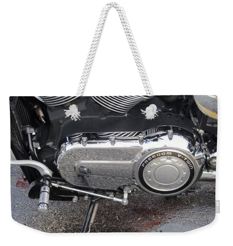 Motorcycles Weekender Tote Bag featuring the photograph Harley Engine Close-up Yellow Line by Anita Burgermeister