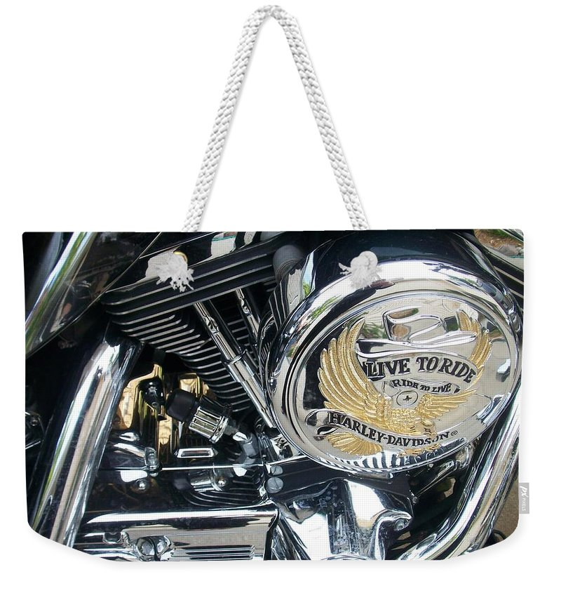 Motorcycles Weekender Tote Bag featuring the photograph Harley Live To Ride by Anita Burgermeister