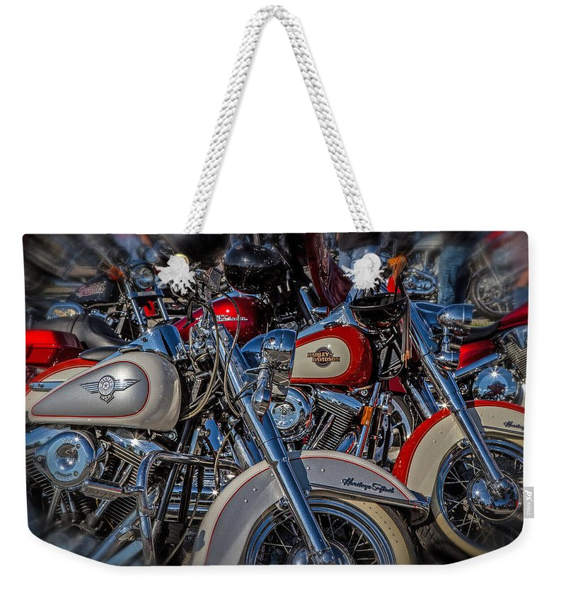 Motorcycles Weekender Tote Bag featuring the photograph Harley Pair by Eleanor Abramson