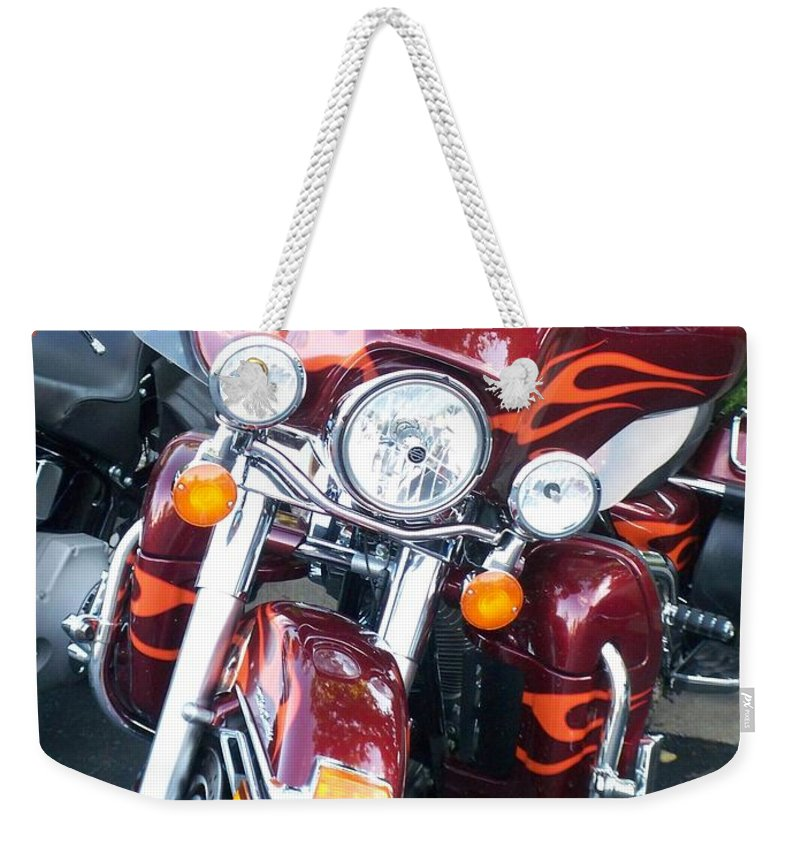 Motorcycles Weekender Tote Bag featuring the photograph Harley Red W Orange Flames by Anita Burgermeister