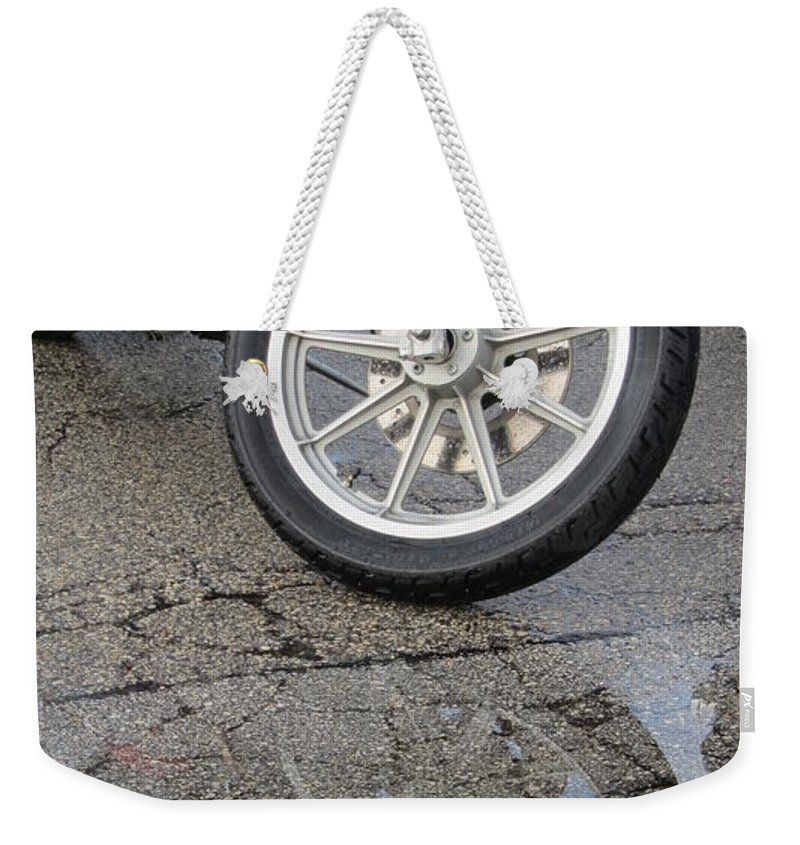 Motorcycles Weekender Tote Bag featuring the photograph Harley Reflection In Rain by Anita Burgermeister