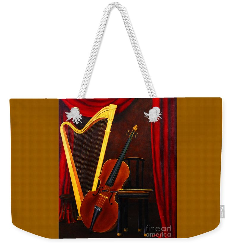Dlgerring Weekender Tote Bag featuring the painting Harp And Cello by D L Gerring