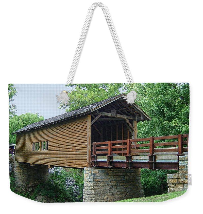 Harrisburg Covered Bridge Weekender Tote Bag featuring the photograph Harrisburg Covered Bridge by Phyllis Taylor