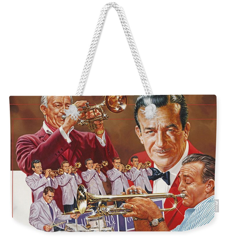 Portrait Weekender Tote Bag featuring the painting Harry James Trumpet Giant by Dick Bobnick