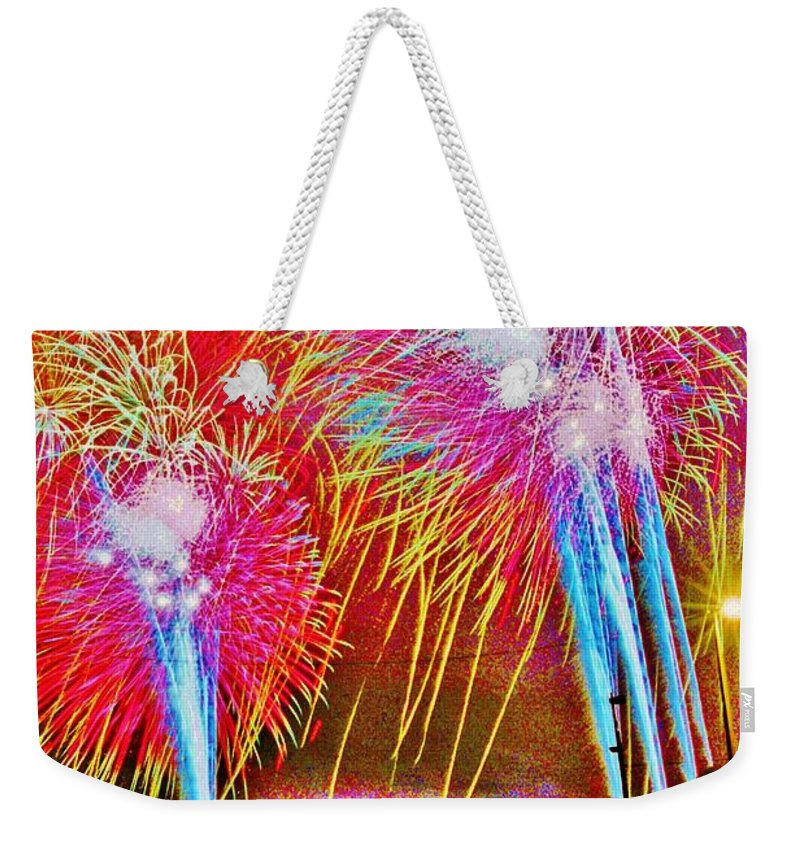 Hart Plaza Weekender Tote Bag featuring the photograph Hart Plaza Fireworks by Daniel Thompson