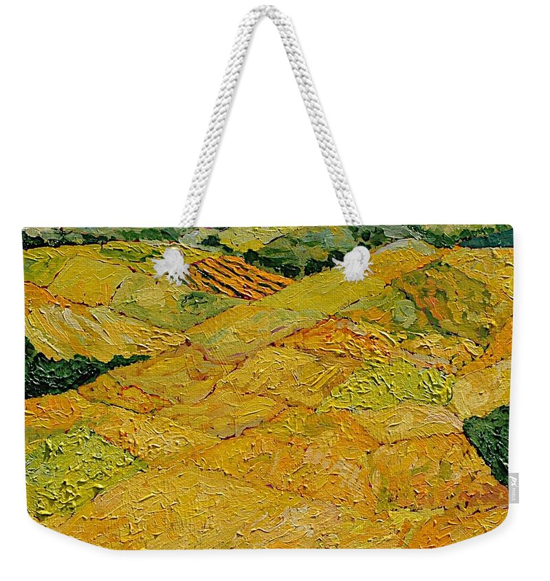 Landscape Weekender Tote Bag featuring the painting Harvest Joy by Allan P Friedlander