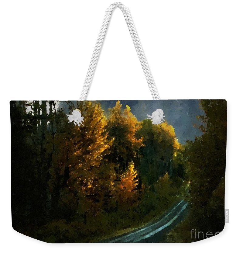 Landscape Weekender Tote Bag featuring the painting Harvest Moon Another Starry Night by RC DeWinter