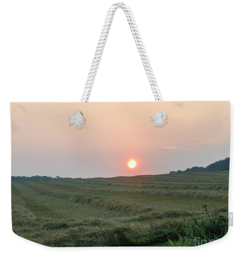 Moon Weekender Tote Bag featuring the photograph Harvest Moon by Brenda Brown