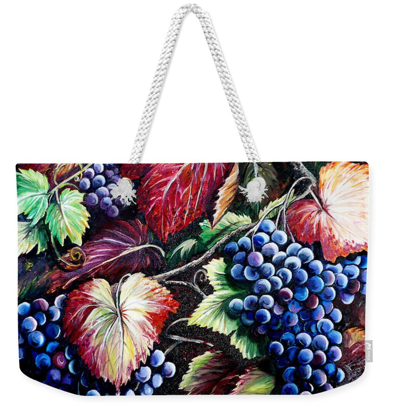 Grapes Painting Weekender Tote Bag featuring the painting Harvest Time by Karin Dawn Kelshall- Best