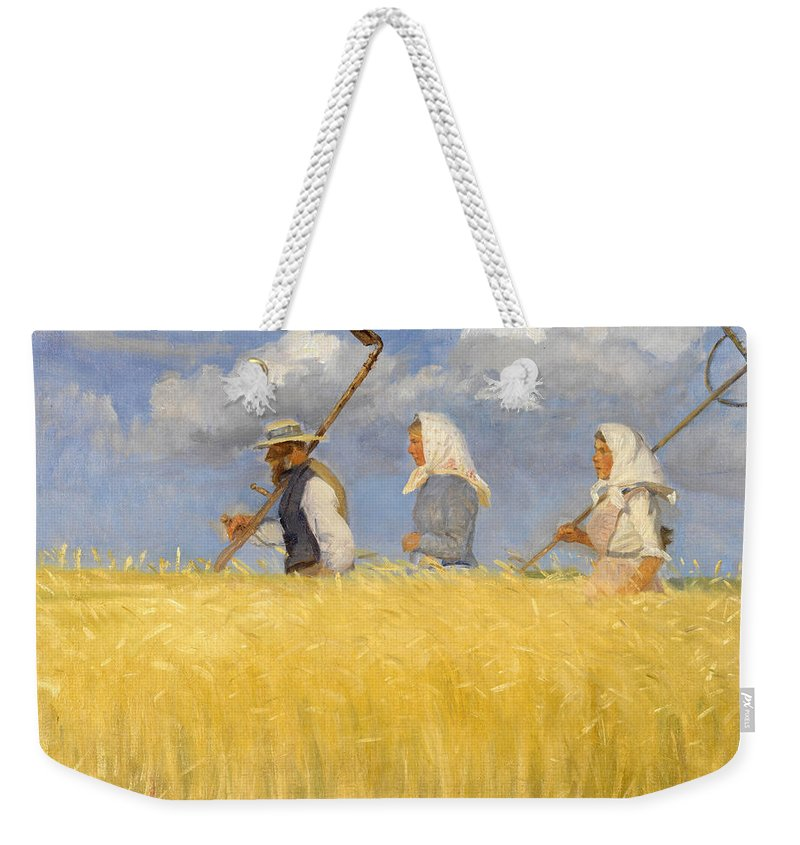 Anna Ancher Weekender Tote Bag featuring the painting Harvesters by Anna Ancher