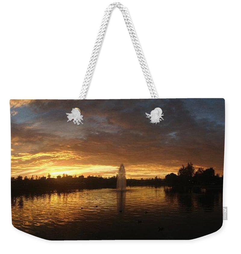 Harveston Lake Sunset Weekender Tote Bag featuring the photograph Harveston Lake Sunset by Christine Owens