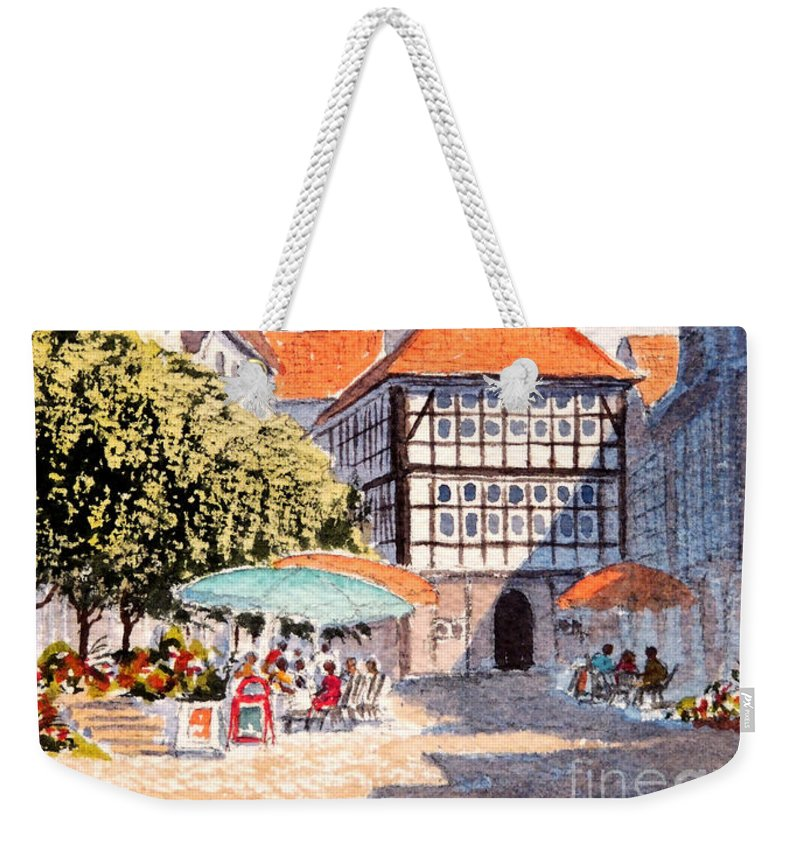 Hattingen Germany Weekender Tote Bag featuring the painting Hattingen Germany by Bill Holkham