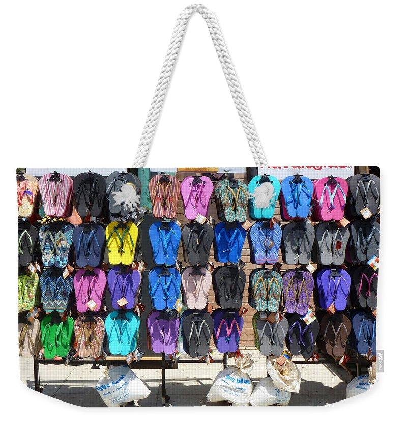 Sand Weekender Tote Bag featuring the photograph Havaianas by Nancy Merkle