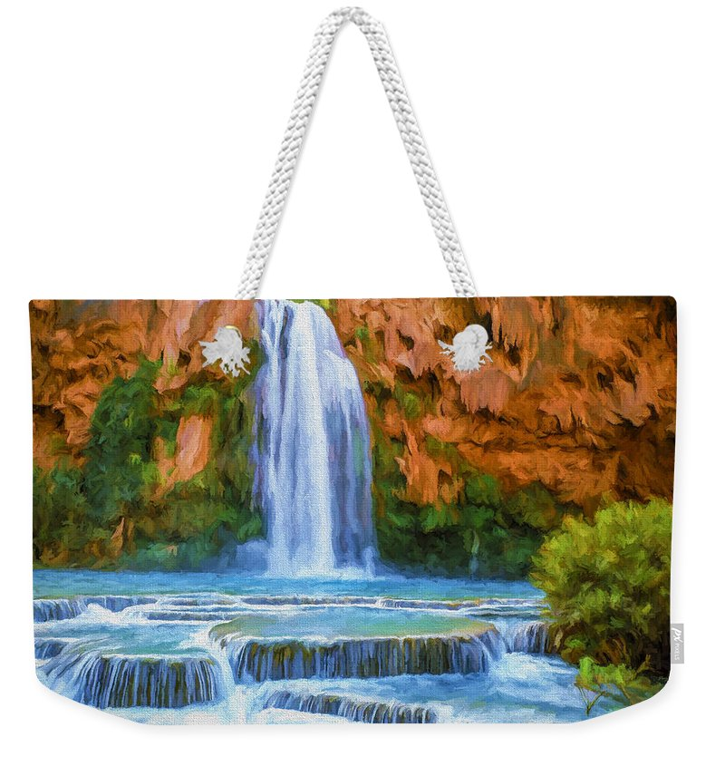 Fine Art Weekender Tote Bag featuring the painting Havasu Falls by David Wagner
