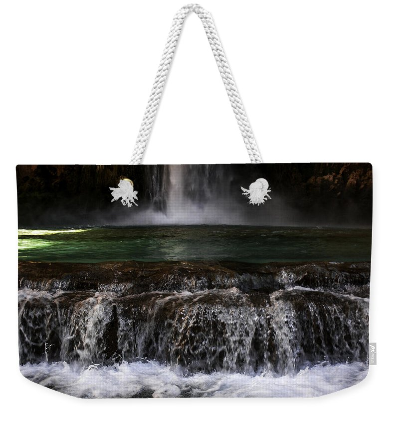 Lovejoy Weekender Tote Bag featuring the photograph Havasupai - Moony Falls by Lovejoy Creations