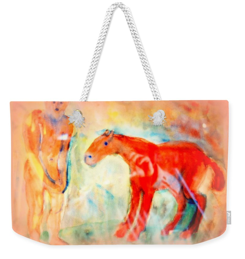 Ride Weekender Tote Bag featuring the painting You Could Always Have A Ride After All It Is Your Birthday by Hilde Widerberg