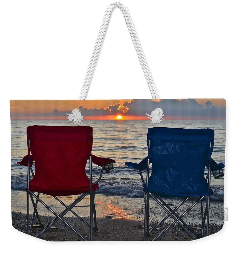 Beach Weekender Tote Bag featuring the photograph Have A Seat by Frozen in Time Fine Art Photography