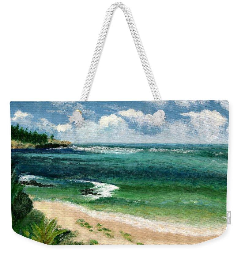 Hawaii Weekender Tote Bag featuring the painting Hawaii Beach by Jamie Frier