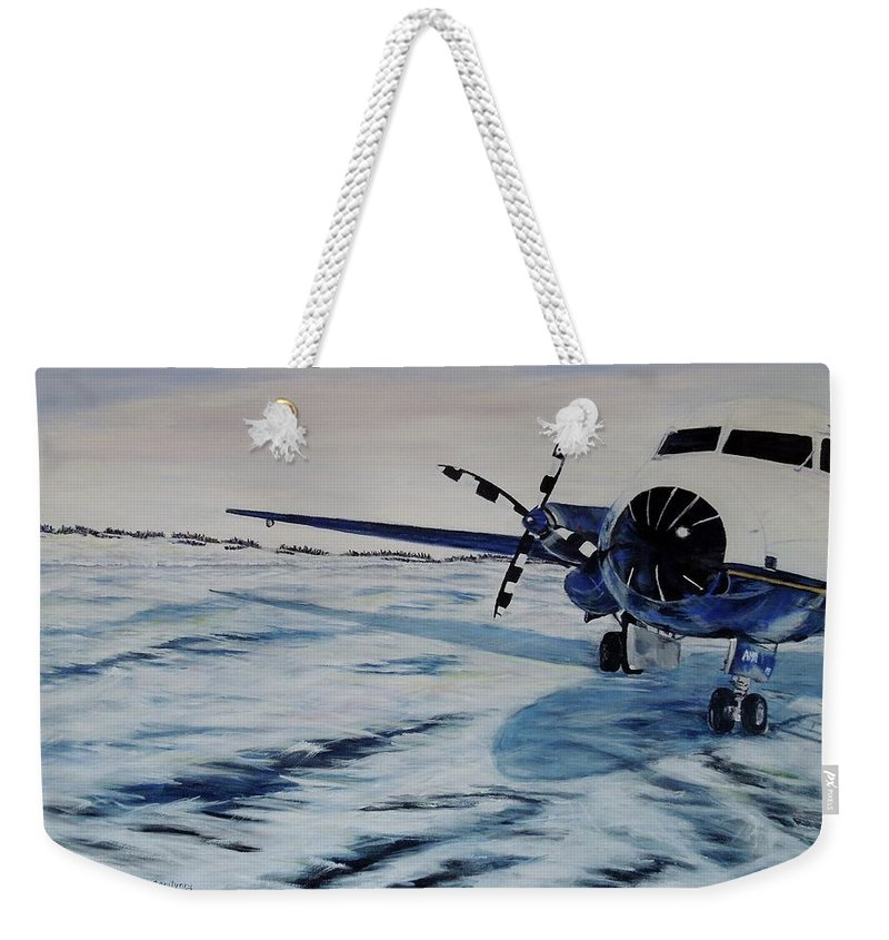 Airplane Weekender Tote Bag featuring the painting Hawker - Airplane On Ice by Marilyn McNish