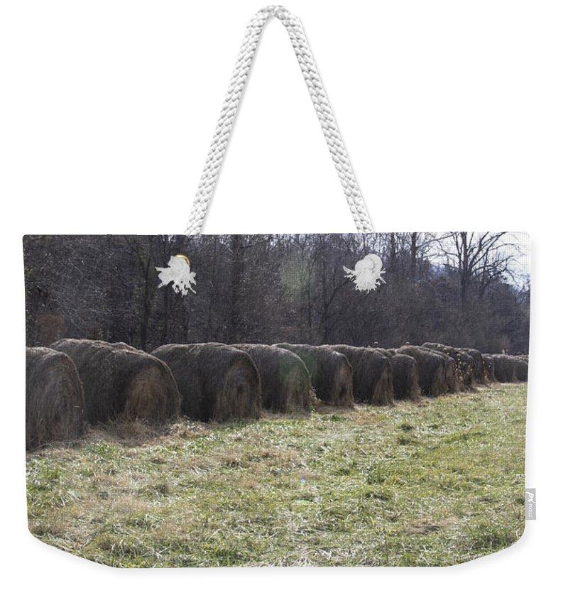 Hay Weekender Tote Bag featuring the photograph Hay Bales 2 by Teresa Mucha