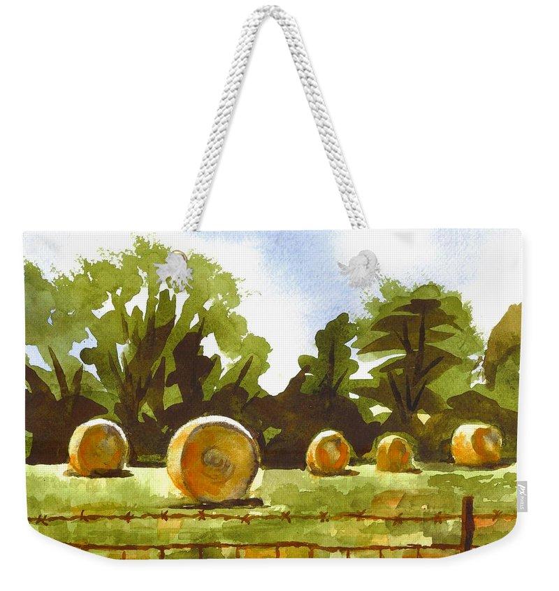 Hay Bales At Noontime Weekender Tote Bag featuring the painting Hay Bales At Noontime by Kip DeVore
