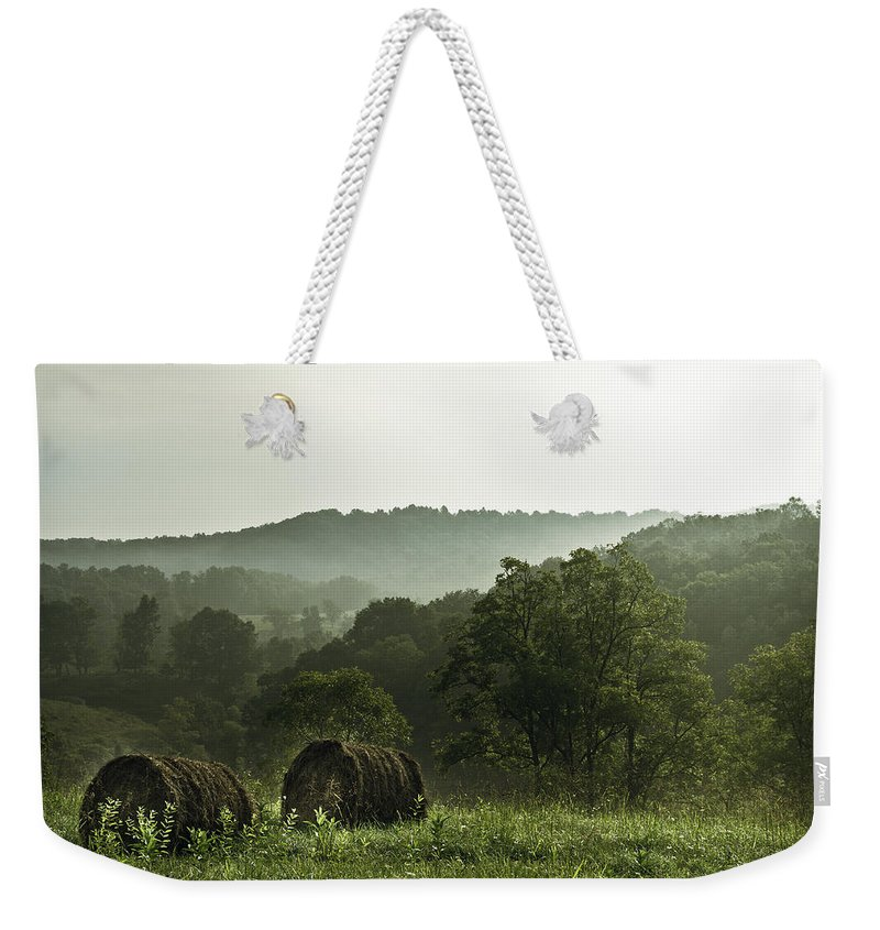 Hay Weekender Tote Bag featuring the photograph Hay Bales by Shane Holsclaw