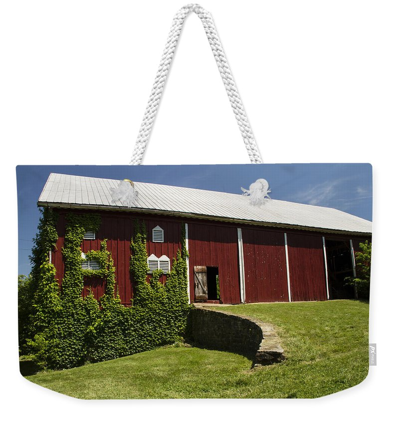 Landscape Photographs Weekender Tote Bag featuring the photograph Hay Barn by Guy Shultz