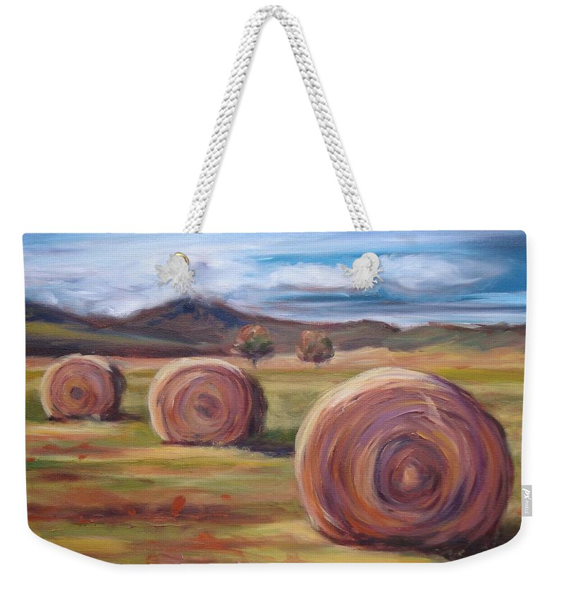 Virginia Weekender Tote Bag featuring the painting Hay Harvest by Donna Tuten