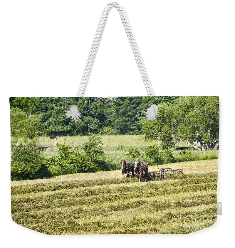 Amish Weekender Tote Bag featuring the photograph Hay Season by David Arment