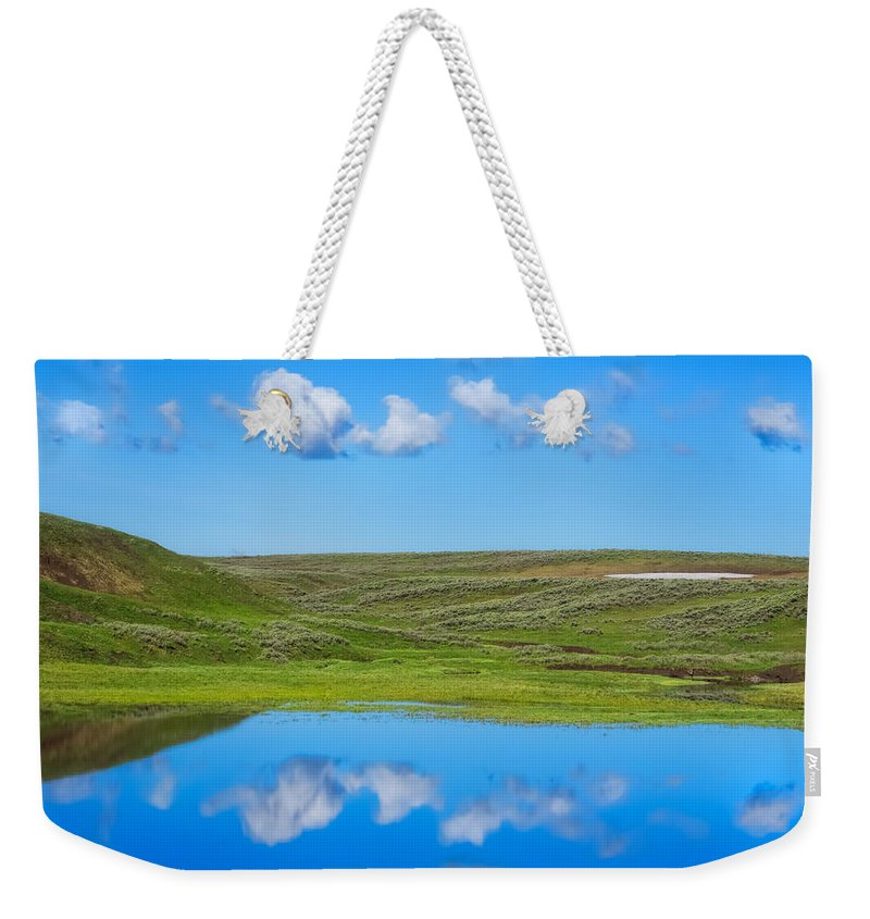 Hayden Valley Weekender Tote Bag featuring the photograph Hayden Valley Cloud Reflection Yellowstone National Park by Martin Belan