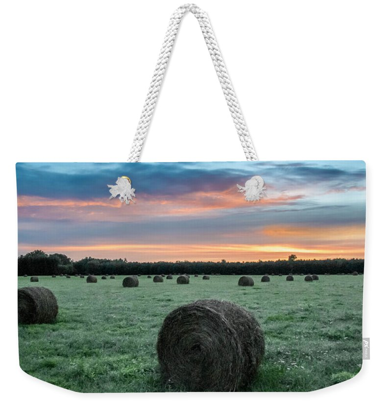 Guy Whiteley Photography Weekender Tote Bag featuring the photograph Hayfield Sunrise 3d21735 by Guy Whiteley