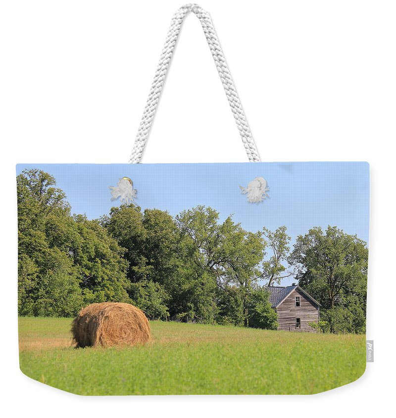Hay Field Weekender Tote Bag featuring the photograph Haying Season At Captain Ed's Homestead by Penny Meyers