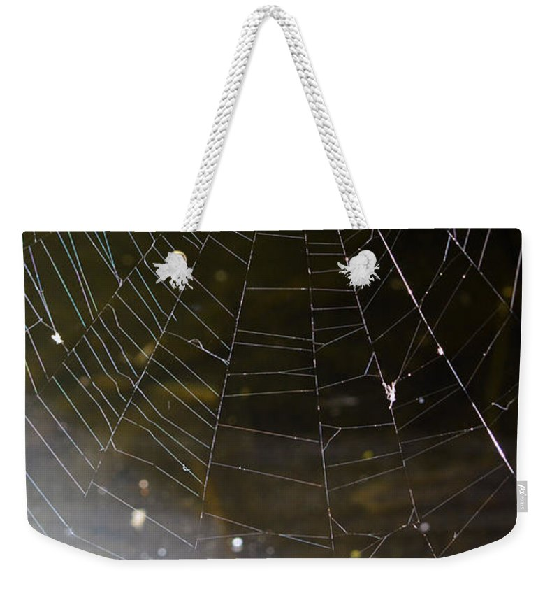 Abstract Weekender Tote Bag featuring the photograph Hazy Web by Brent Dolliver