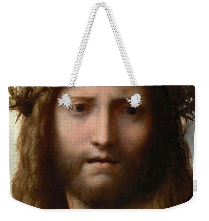 Correggio Weekender Tote Bag featuring the painting Head Of Christ by Correggio